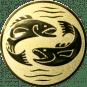 Emblem 25mm 2 Fische, gold