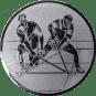 Emblem 25mm 2 Hockeyspieler, silber