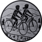 Emblem 25mm 2 Radfahrer, silber
