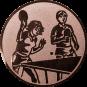 Emblem 25mm 2 Tischtennisspieler Mix, bronze
