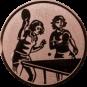 Emblem 25mm 2 Tischtennisspielerinen, bronze