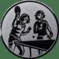 Emblem 25mm 2 Tischtennisspielerinen, silber