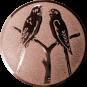 Emblem 25mm 2 Vögel auf Astgabel, bronze