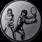 Emblem 25mm 2Tennisspielerinnen, silber
