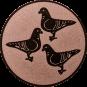 Emblem 25mm 3 Tauben, bronze