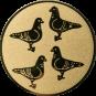 Emblem 25mm 4 Tauben, gold