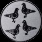 Emblem 25mm 4 Tauben, silber