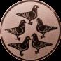 Emblem 25mm 5 Tauben, bronze