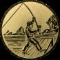 Emblem 25mm Angler beim Wurf, gold