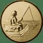 Emblem 25mm Angler im Boot 3D, gold