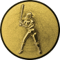 Emblem 25mm Baseball Spielerin, 3D gold