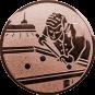Emblem 25mm Billardspieler rechts, bronze