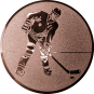Emblem 25mm Eishockeyspieler, bronze