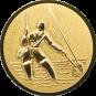 Emblem 25mm Fliegenangerler im Wasser 3D, gold