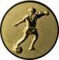 Emblem 25mm Fußballspieler m. Ball, 3D gold