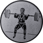 Emblem 25mm Gewichtheber Stossen, silber