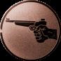 Emblem 25mm Hand mit Pistole, bronze schießen