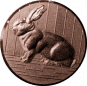 Emblem 25mm Hase 3D, bronze