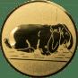 Emblem 25mm Hase mit Schlappohren, gold