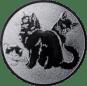 Emblem 25mm Katzen, silber