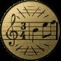 Emblem 25mm Notenschlüssel 3/4, gold