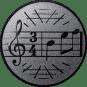 Emblem 25mm Notenschlüssel 3/4, silber