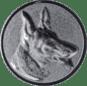 Emblem 25mm Schäferhund 3D, silber