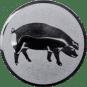 Emblem 25mm Schwein, silber
