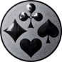 Emblem 25mm Skat, silber