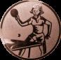 Emblem 25mm Tischtennisspielerin, bronze