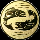 Emblem 50mm 2 Fische, gold