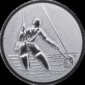 Emblem 50mm Fliegenangerler im Wasser 3D, silber