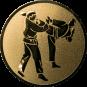Emblem 50 mm 2 Karatekämpfer, gold