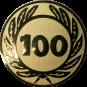 Emblem 50 mm Ehrenkranz mit 100, gold