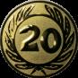 Emblem 50 mm Ehrenkranz mit 20, gold