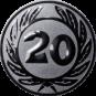 Emblem 50 mm Ehrenkranz mit 20, silber