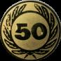 Emblem 50 mm Ehrenkranz mit 50, gold