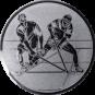 Emblem 50mm 2 Hockeyspieler, silber