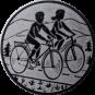 Emblem 50mm 2 Radfahrer, silber