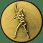 Emblem 50mm Baseball Spielerin, 3D gold