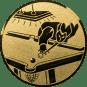 Emblem 50mm Billardspieler links, gold