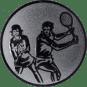 Emblem 50mm Doppel Mix, silber