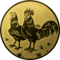 Emblem 50mm Hahn und Henne, gold