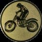 Emblem 50mm Motorrad mit stehendem Fahrer, gold