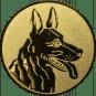 Emblem 50mm Schäferhund, gold