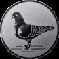 Emblem 50mm Taube links, silber