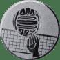 Emblem 50mm Volleyball mit Hand, silber
