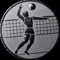 Emblem 50mm Volleyballer, silber