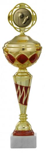 Pokale 6er Serie S440 gold/rot mit Deckel 33 cm