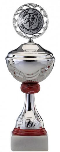 Pokale 6er SerieS467 silber/rot mit Deckel 25 cm